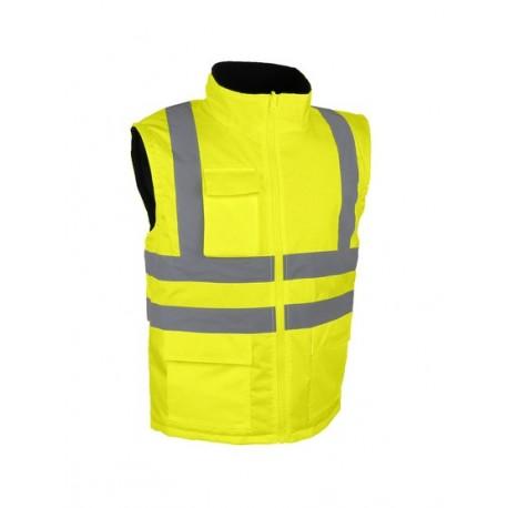 Veste sans manches orange fluo gilet signalisation de travail haute visibilité EPI