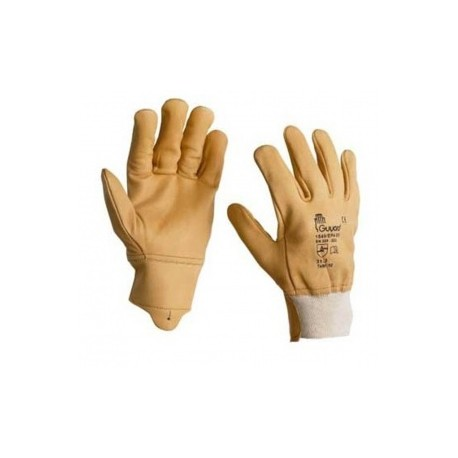 Gants 5 doigts, en cuir caprin pleine fleur hydrofuge beige